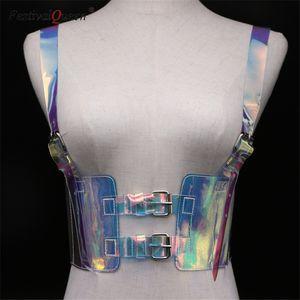 FestivalQueen женщины ПВХ прозрачные регулируемые талии пояса фестиваль боди лазерную верхней уличной голограмма культур