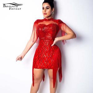 Bonnie Forest Glitter Quaste FRINGES Pailletten Minikleid Sexy Ausschnitt Bodycon Celebrity Party Dress Silvester Outfits Clubwear