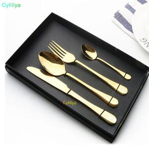 Oro Vajilla Sets favores de la boda de oro Cubiertos Sets pueden lavar en lavavajillas brillante de oro cubiertos de acero inoxidable al por mayor Establece