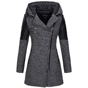 JAYCOSIN Теплой Тонкой женщин смеси пальто куртка Толстая Parka Шинель зима Outwear с капюшоном на молнии Пальто Кардигана Tops шинели 9816