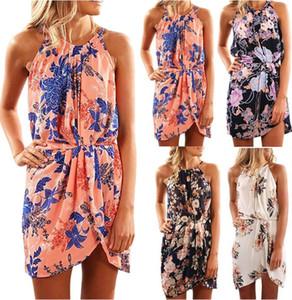Floral Casual Mulheres mangas Halter Neck vestido da menina de verão impressão Partido Vestidos Praia Vestidos Open Back vestido sem mangas GGA3373