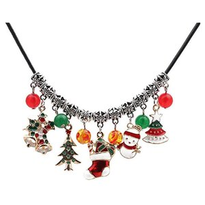 Colar de árvore Mulheres Moda Natal Ágata Beads Snowman Colar Ladies Natal Ágata Beads Snowman # 5b19
