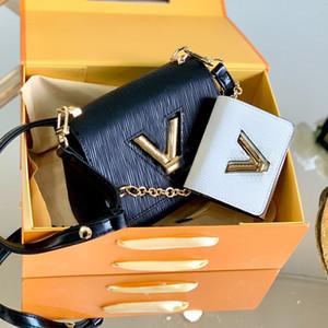 Cadena de Crossbody del bolso de la mujer carpetas de la manera de la alta calidad del cuero genuino de la bolsa de mensajero Rotary bloqueo Llanura monedero más vendido ilustraciones