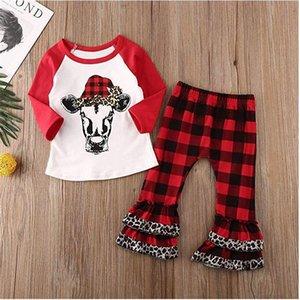 어린이 Charistmas 잠옷 운동복 아기 소녀 크리스마스 트리 T 셔츠 격자 무늬 레오파드 패치 워크 바지 2 개 조각 의상 혼 소매 셔츠 정장 A110603