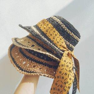 New arrived 2020 fashion girls hats handwork weave kids straw hat bows bucket hat girls caps designer kids hats children caps B1002