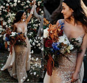 Champagne Wedding Dresses With Detachable Skirt Appliqued Lace Spaghetti Beach Wedding Dress Sweep Train Custom Made Vestidos De Novia
