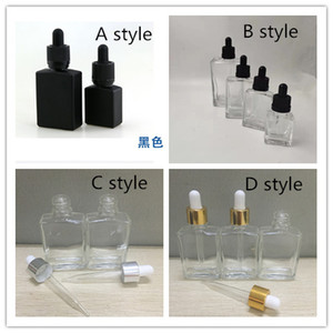15ml 30ml 50ml 100ml frascos conta-gotas de vidro quadrados frascos conta-gotas de olho vazios com tampas de ouro prata
