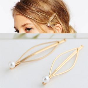 Einfache Atmosphäre europäischen und amerikanischen Stil Schmuck Wild Pearl Gold Haarnadel Seite Clip Haarnadel Tiara Haarschmuck