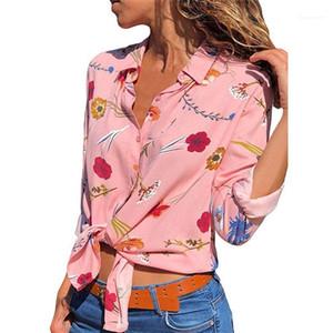 Femmes d'été T-shirt fille Vêtements en mousseline de soie floral imprimé Lapel cou à manches longues été shirt Designer