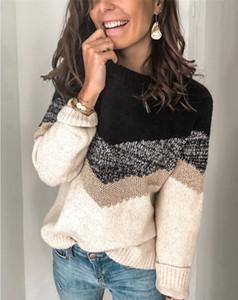 Los diseñadores de cuello redondo de manga larga para mujer del suéter de las señoras ocasionales de contraste ropa de color de moda para mujer con paneles suéteres
