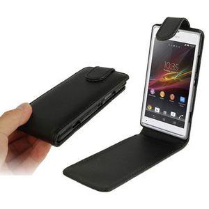 Pure Capa de Couro Vertical Flip cores para Sony Xperia SP / M35h