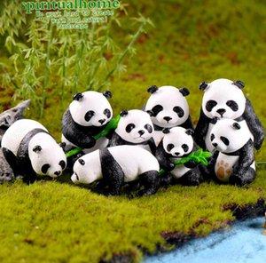 الباندا التماثيل الحيوانية اللعب الشكل [بلست] الجنية حديقة كعكة القبعات العالية الراتنج الحيوان تمثال الحلي