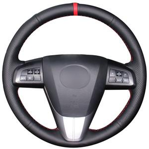 Cubierta del volante del coche con marcador rojo de cuero natural negro para Mazda 3 Axela 2008-2013 Mazda CX-7 CX7 2010-2016 Mazda 5 2011-2013
