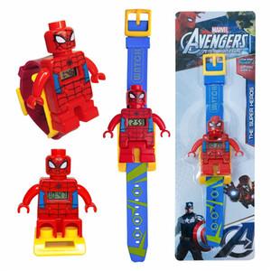Karikatür Elektronik İzle İçin Çocuk Iron Man Batman Elektronik İzle Örümcek Adam Oyuncak Blokları 6 Stiller DHL