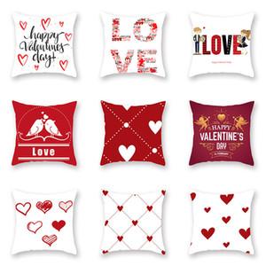 25 Стиль День Святого Валентина Красная любовь наволочки 45 * 45см Peach Skin Red Геометрический рисунок Подушка Подушка Home Hotel Украшение XD23183