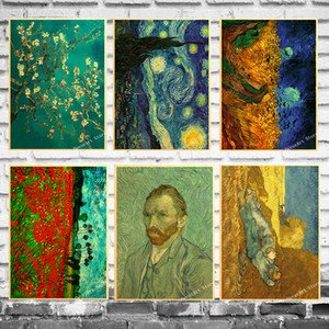 Empresyonist Van Gogh Kayısı Çiçek Tuval Boyama Vintage Duvar Kraft Posterler Kaplamalı Duvar Çıkartmaları Ev Dekorasyon Resim