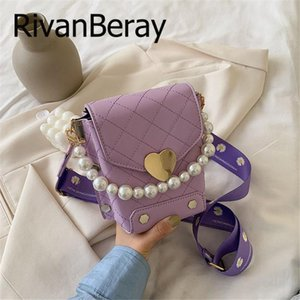 Pearl Handle Box Crossbody Bags For Women 2020 Summer PU Leather Shoulder Handbags Female Mini Love Lock Travel Cross Body Bags