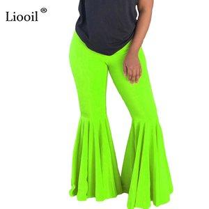 Liooil Neon Yeşili Turuncu Yüksek Bel Flare Pantolon 2020 Yaz Seksi Sıkı Pantolon Kadınlar Güz Elastik Kulübü Bell Alt Uzun Pantolon Y200113