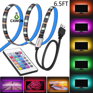 Étanche 5V LED Light Strip 0,5m 100cm (3.28ft) 2m 30leds flexible 5050 TV RGB Rétro-éclairage Câble USB et Mini Controller