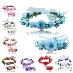 venta caliente 8 colores hijos guirnalda de cabello artificial decoración de pulsera venda de la flor de la novia de la moda de la guirnalda T3I0315