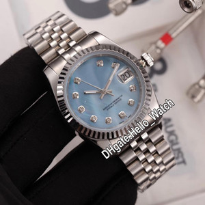 Nuovo 36mm M126334-0020 126334 LCE BLUE Shell Diamond Diamond Automatic Mens Guarda Bracciale in acciaio inox Unisex Womens Watches Hello_Watch