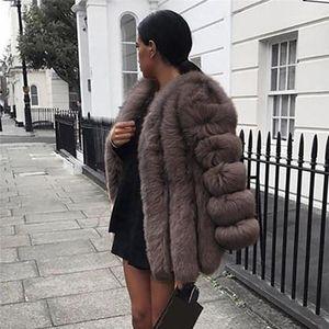 Fur Designer Plus Size Covered Knopf Wintermäntel beiläufigen langen Hülsen Fake Fur Mode für Frauen Faux