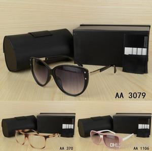 los hombres elegantes de lujo del estilo mujer de las gafas de sol con la caja de lentes de la vendimia Wayfarer gafas de visión clásica casual vestido de partido redondo Eyewear
