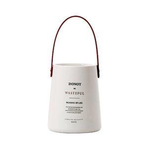 Новый уникальный Chic Nordic Керамика хранения Jar бутылки с кожаной ручкой Минималистский стол для хранения бутылок Организатор Flower Vase Cont