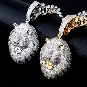 New personalized White Gold Plated Cubic Zirconia Lion Pendant Nechlace Personalized Bijoux Hip Hop Rapper Mens Jewelry Gifts for Guys