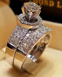 Luxury Crystal Diamond femminile Big Queen Ring Set Moda 925 anelli di nozze d'argento per le donne Promessa Love Engagement Ring
