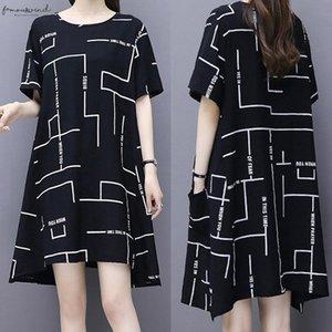 2020 Designer Dress Fashion Womens Short Sleeved Dress Line Print Round Neck Dress Vestido De Festa Longo