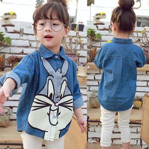 2019 new children's clothing girl Long Sleeve Tops shirt cute cartoon rabbit print shirt kids fashion Imitation cowboy coat Y200704