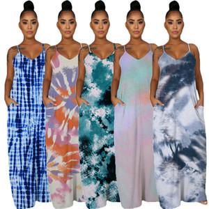 Tie Dye Damen Kleider mit Taschen Sommer-Sleeveless Isolationsschlauch-Bügel-reizvolle Dame-beiläufigem Kleid Mode Vestido