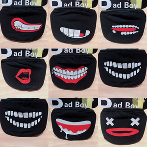 Black mask pure cotton masks washable thickened bear nose personality facial expression funny foreign trade mask  face mask free dhl