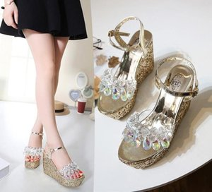 12cm luxury designer sandals sequined crystal shoes bridal wedding shoes platform wedge high heels designer sandals size 34 to 40