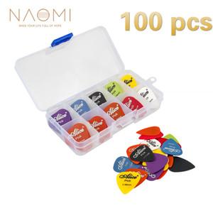 NAOMI Guitar Picks 100pcs Acoustic Electric Guitar Picks Plectrums + Pick Case Assorted Random Thickness Guitar Accessories