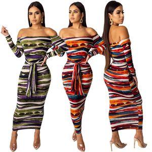 Diseñador de verano para mujer Slash Neck Bodycon Vestidos Una línea Cap Manga larga Impresión a rayas Ropa femenina Estilo de la moda Ropa casual