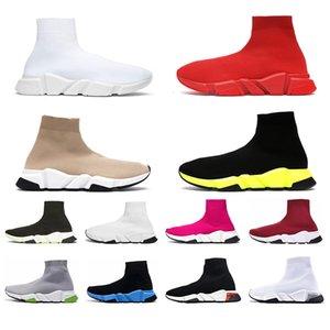 Balencaiga Siyah Beyaz Yeşil Pinks Gri kadınlar iskarpin yukarı dantel ile Moda 2020 Erkek Hız Traniers Temizle Sole ağırlık Çorap Ayakkabı