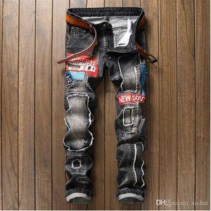 Nesest Herren Designer Ripped gerades Bein dünne Jeans-Patchwork-Buchstabe-Stickerei-verursachende gewaschenem Denim-Hosen Hip Hop-Mann-Jeans 806