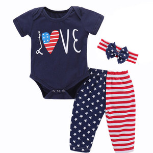Kids Striped Three-Piece Set Girl Short Sleeve Tops Rompers Trousers Set American Flag Independence National Day USA 4th July With Headband