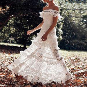 Everkaki White Maxi Dresses Women Wedding Off Shoulder Ruffles Elegant Ladies Boho Night Gown Long Dress Female 2020 Spring New T200604