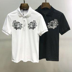 2020iDesigner mercerized lapel polo shirt summer dress European station tide mens short-sleeved t-shirt sli