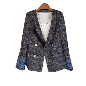 2020 Fashion Herbst Patchwork Plaid Vintage-Blazer-Frauen-Jacken Gekerbter Kragen-dünne Quaste Tweed Anzug Oberbekleidung