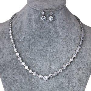 Weimanjingdian marca rotonda forma cubic zirconia collana di cristallo orecchini da sposa cz zircone set di gioielli Y19051302