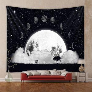 장식 실 개인 태피스트리-36 매달려 130X150cm 태피스트리 예술 인쇄 태피스트리 별이 빛나는 하늘 카펫 달 태피스트리 벽