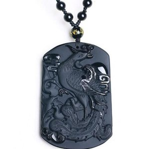 Kuş Yeşim Kolye Jade Takı Güzel Takı Black Obsidian Phoenix kolye kolye Kral