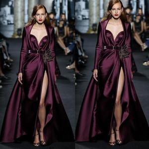 Fashions tapete cetim Vestidos Two Pieces Long Sleeve pescoço namorada alta Dividir noite Pageant Vestidos