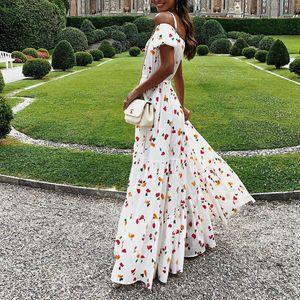 Yeni kadın elbise seksi askısız tüp üst elbiseler uzun etek baskılı dresse çiçek elbise rahat seyahat dresse podyum parti elbise