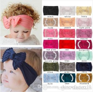 Baby Girl Bow Diademas Nylon Accesorios para el cabello Hair Band Tocado para niños Bohemia Fashion 21 Colors Boutique