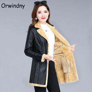 Orwindny Inverno Leather Jacket Mulheres quente grossa Long Coat Couro Laides Plus Size 5XL Neve vestir roupas Feminino